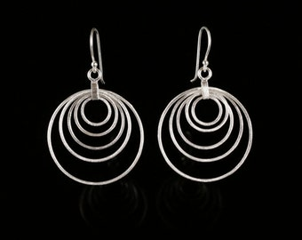 Silver Circle Earrings, Circle Earrings, Sterling Silver Earrings, Silver Dangle Earrings