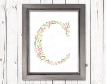 Floral letter C monogram flower pastel initial kids monogrammed print art nursery decor printable wall art instant download