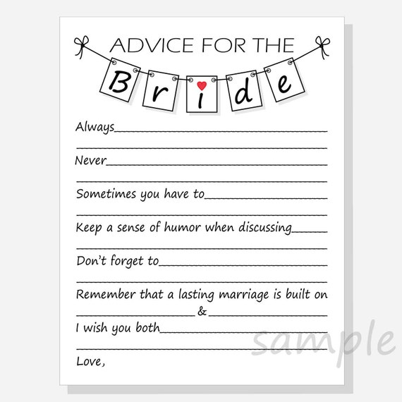 Diy advice for the bride printable cards for a bridal shower for Bridal shower advice cards template