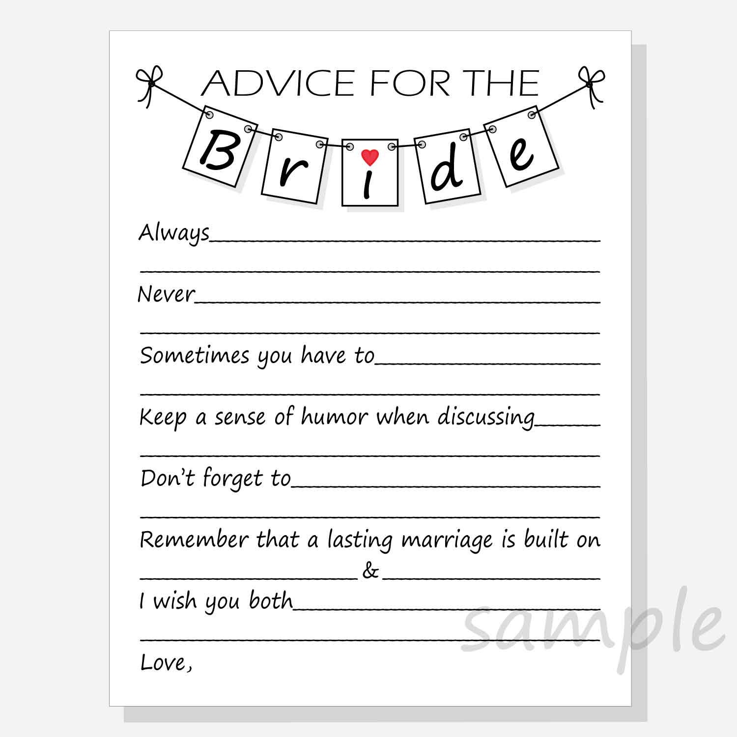 This is a photo of Persnickety Free Printable Bridal Shower Advice Cards