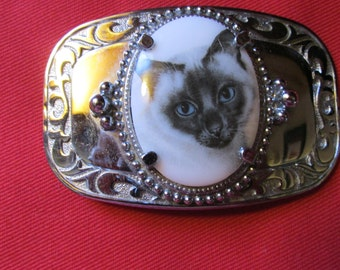 Cat Lover's Belt Buckle Siamese Cat Belt Buckle Silver Tone Buckle