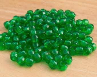 200 Transparent Green Pony Beads