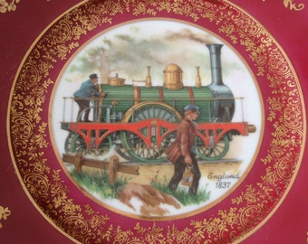 Decorative Train Locomotive China Plate England 1837 Bayreuth Bavaria Red Gold Flower Design Collectible Home décor L1362