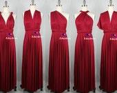Jersey Wrap Convertible Infinity Dress Evening Dresses Dark Red Brick Red Straight Hem Floor Length Bridesmaid Dress Maroon