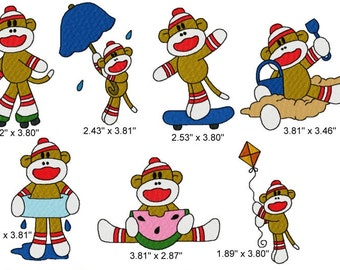 21 Summer Fun Sock Monkey Machine Embroidery Design Files 4x4 with Finger Puppets
