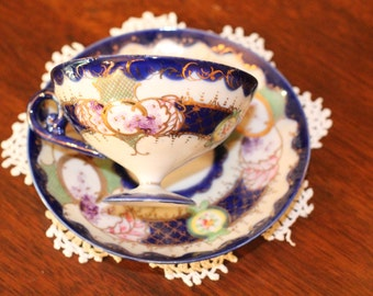 Nippon Hand Painted Cup and Saucer – Cobalt and Gold