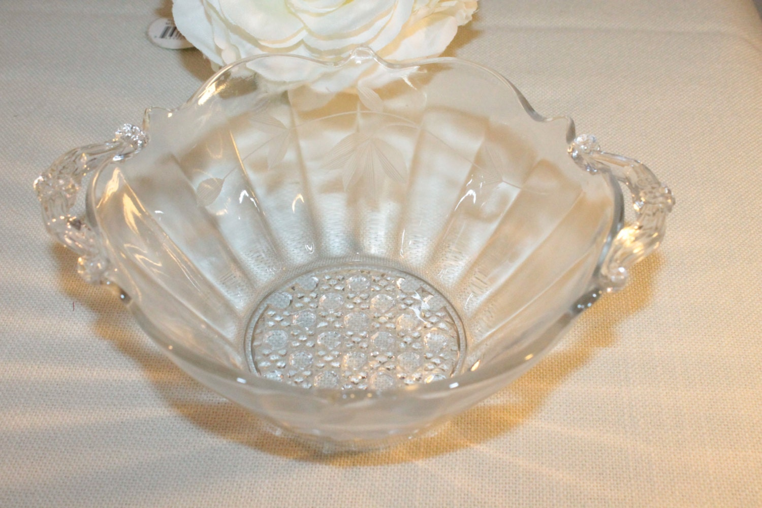 RESERVED FOR A Small Depression Glass Etched Clear Bowl with