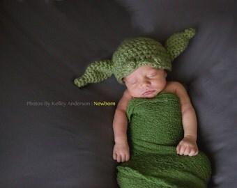 Yoda Hat, Newborn Yoda Hat, Star Wars, Newborn Star Wars, Newborn Yoda Costume, Baby Yoda Hat