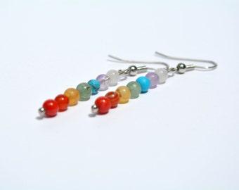 Chakra earrings, Rainbow Earrings, Colorful Gemstones, Yoga Earrings, Chakra Balancing