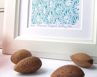 Cool Turquoise Anemone screen print, small, abstract, modern art