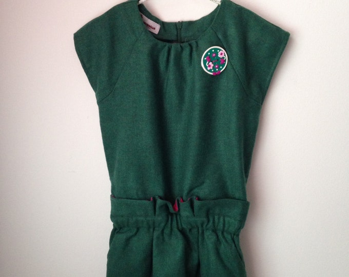 Soft wool dress for girls, gown, green pine, size 4-5 wool dress, autumn, green, ready to send, elegant dress, girls dress