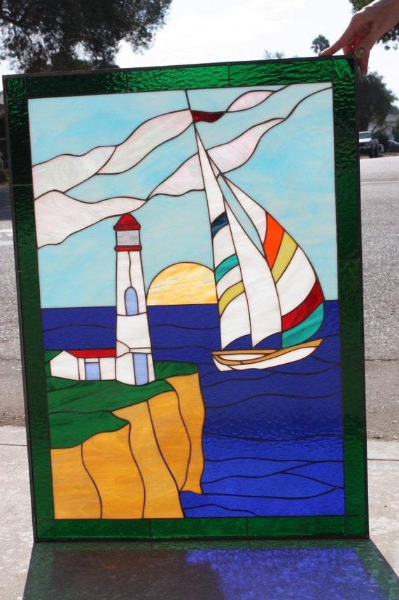 Lighthouse Amp Sailboat Stained Glass Window By Artglasswindows