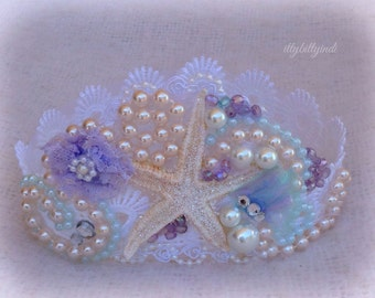 Mermaid crown ocean dreamer starfish pearls handmade girls mermaid party accessory photography prop