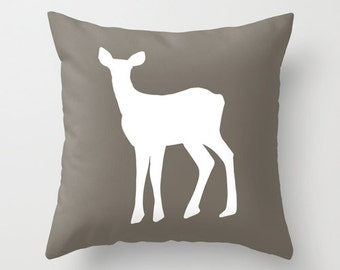 Deer Pillow Cover, Fawn pillow, neutral pillow, cabin pillow, animal pillow, rustic pillow, brown pillow, woodland pillow, choose color