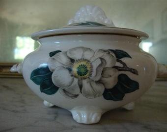 Homer Laughlin Vintage China Sugar Bowl  Nautilus, Magnolia, 1952