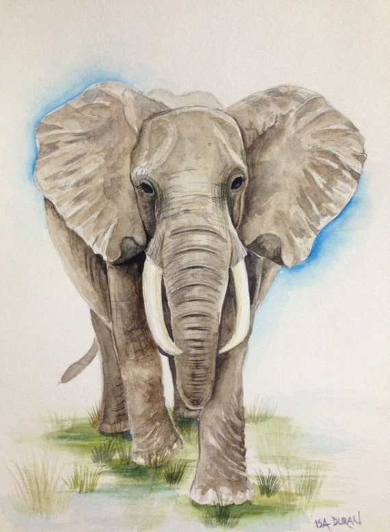 "African Elephant, Elephant  watercolor painting, Elephant art, Nursery art, Wall Art, 9""x 12"""