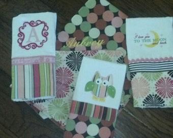 Baby gift set  Blanket, and 3 burp cloths