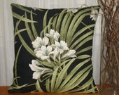 Free Shipping, Pillow, Floral Palm Leaf with Black background, Tropical Pillow, Magnolia Fabric Pillow, Beach House Pillow, Cottage