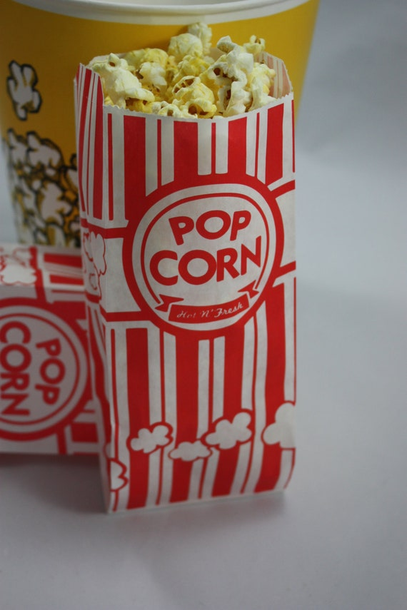 100 popcorn bags and white retro popcorn bags by axcsupply