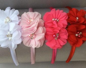 Bundle headband set, pink headbands, plastic headband, satin headband, toddler headband, white flower Girl headband, red headband