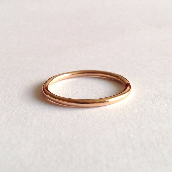 Red Gold Halo Ring - Unique Wedding Band - 18 Carat Rose Gold