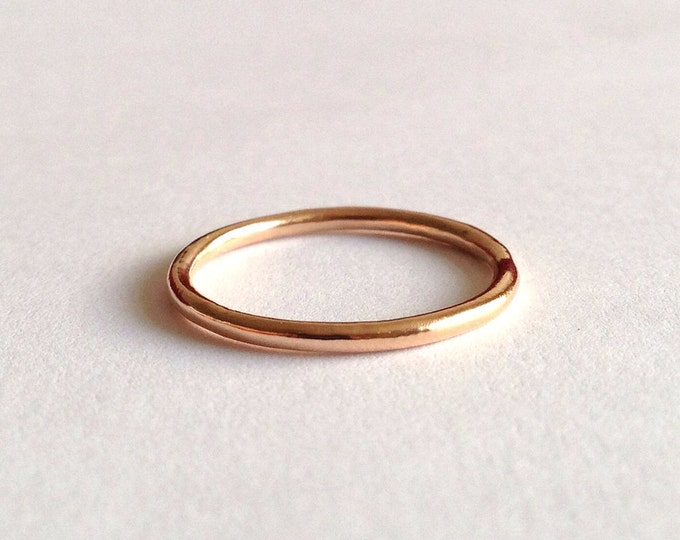 Red Gold Halo Ring - Unique Wedding Band - Organic Shape - Thin Ring - Men's Women's - Unisex - Polished or Matte Finish 18 Karat Rose Gold