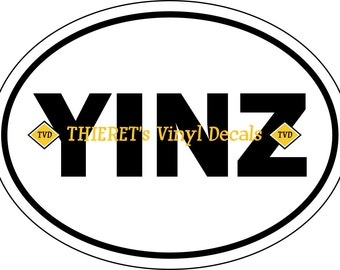 yinz oval vehicle magnet or vinyl decal