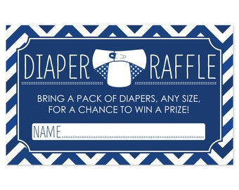 18 Diaper Raffle Tickets in Navy Blue Chevron Pattern - Baby Shower Game - Printed Diaper Raffle Cards
