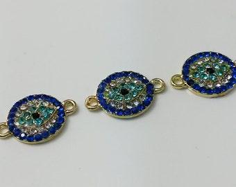 5 pcs  rhinestone evil eye connector for evil eye jewelry evil eye bracelet evil  eye pendants