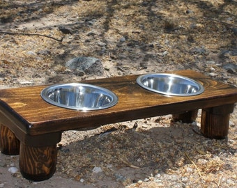 XTRA SMALL Two Bowl Raised Cat or Dog Feeder, Elevated Dog Bowls, U Pick Tint, Various Heights, Made 2 Order, Cat Buffets, Quality