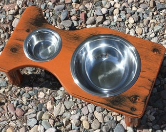 Xtra SMALL Shabby Chic Two Bowl Raised Cat Feeder, Elevated Dog Bowls, 1.5 Quart and 1/2 Pint bowls, U-Choose Height, U Pick Shabby Color