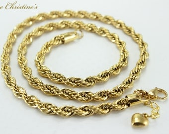 Katelyn - golden stainless steel braided rope style link necklace, 22.8 inches long, lobster claw clasp - TBN390121
