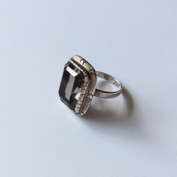 vintage sterling silver smoky quartz ring by gustytreasures