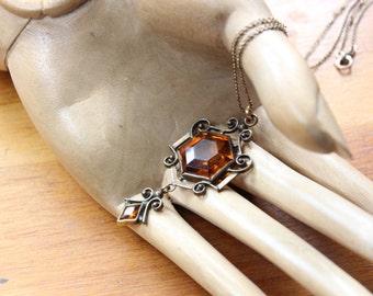 Art Nouveau Lavalier/ Pendant Necklace- Gold Tone with Faceted Topaz Glass
