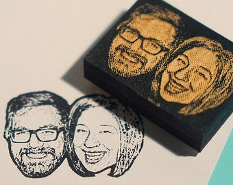 Personalized couple portrait rubber stamp- Custom couple portrait stamp - wedding stamp, Custom Face Stamp- Free Shipping in Canada!