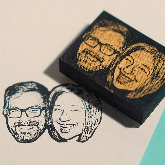 Personalized couple portrait rubber stamp custom by for Stamps for wedding invitations canada