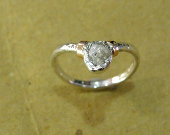 Ring in silver 925/1000 and rose gold 750/1000 with 0.48 ct rough Diamond.  Size : 16   (56)