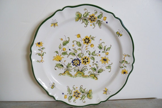 Chop Platter Vintage Vieux Provence Varages Hand Painted France Large Plate 12 inch Platter Flower Plate Yellow Blue Green Scalloped French