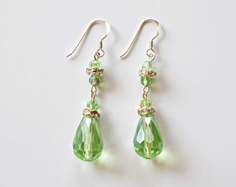 Green Teardrop Earrings, St. Patrick's Earrings, Spring Glass Teardrop and Dangle Earrings