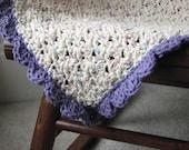 Cotton Purple and Cream Baby Blanket, Heirloom, Keepsake, Take Along Security Blanket, Great Baby Gift, Baby Shower