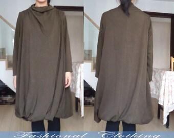 Military Green black loosen dress spring autumn winter dress women clothing long sleeve dress plus cotton dress leisure long clothing