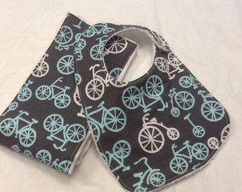 Baby bib and burp cloth set in Michael Miller bicycles in blue
