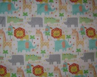 "Remnant - Rockabye Safari Animals White Flannel Fabric Remnant 17"""