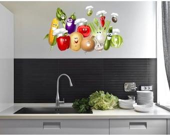 Smiling Vegetables wall decal sticker, deco, mural, vinyl wall art