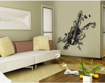 Blossom Violin wall decal, sticker, mural, vinyl wall art