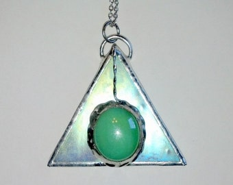 Stained Glass Jewelry Pendant Abstract Geometric Stained Glass Necklace Pendant Abstract Iridescent Triangle Pendulum
