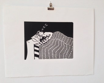 Two colour linocut 'One Mother Waking'