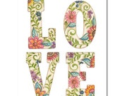 Printable art LOVE nursery print, digital download, floral letters, nursery decor, dorm decor