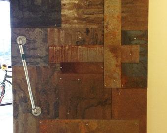 Reclaimed Distressed Weathered Sheet Metal Clad Barn Doors