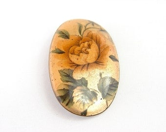 Floral, enameled copper brooch.  Country style, made in Australia. 1960s Vintage jewellery.
